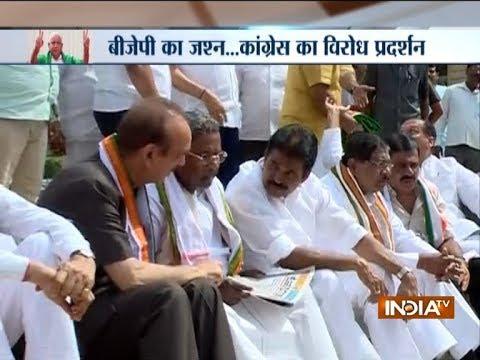 BJP Govt in Karnataka: Congress leaders stage dharna outside a Karnataka Assembly