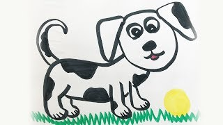 How to draw and color a Puppy Dog -for kids!