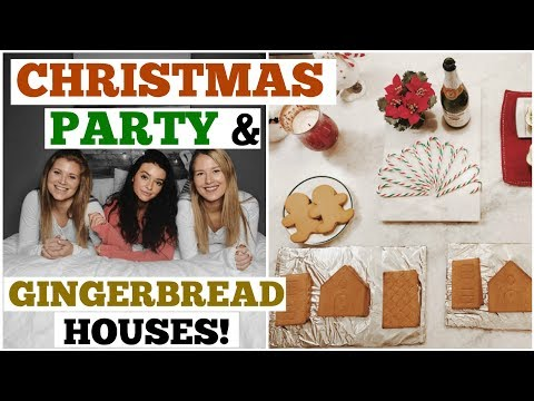 CHRISTMAS PARTY & GINGERBREAD HOUSES! | Vlogmas 15