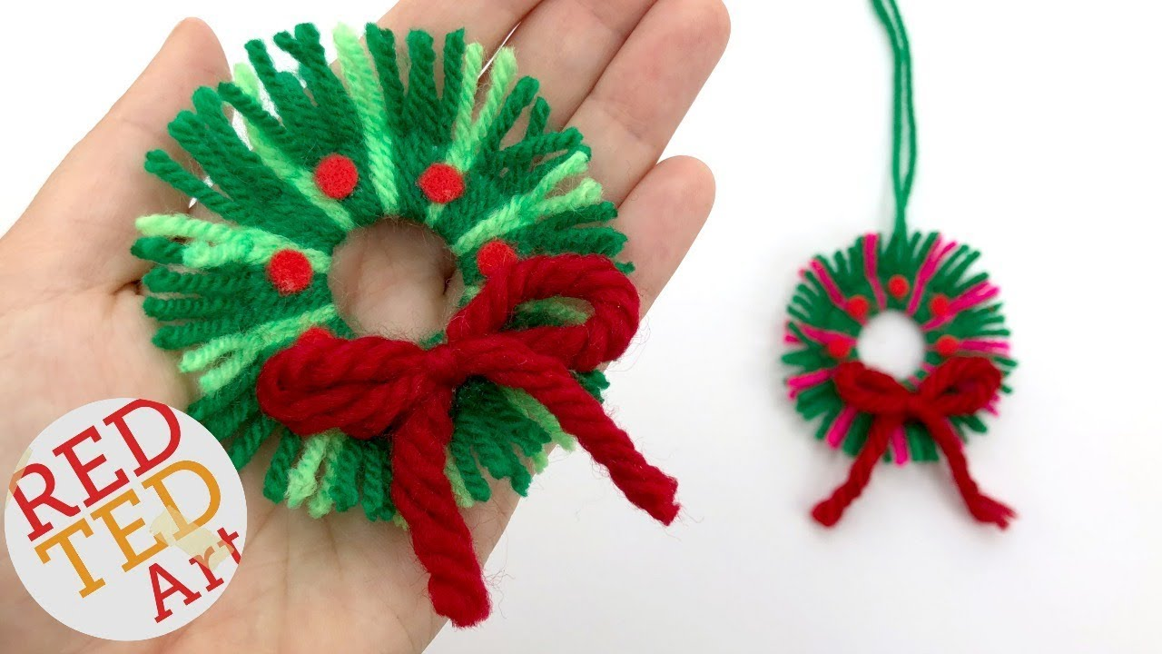 diy yarn wreath ornaments for christmas youtube
