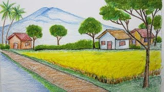 how to draw scenery of ricefield and houses