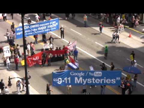 9-11 Truth makes HUGE appearance at Los Angeles Anti-War March