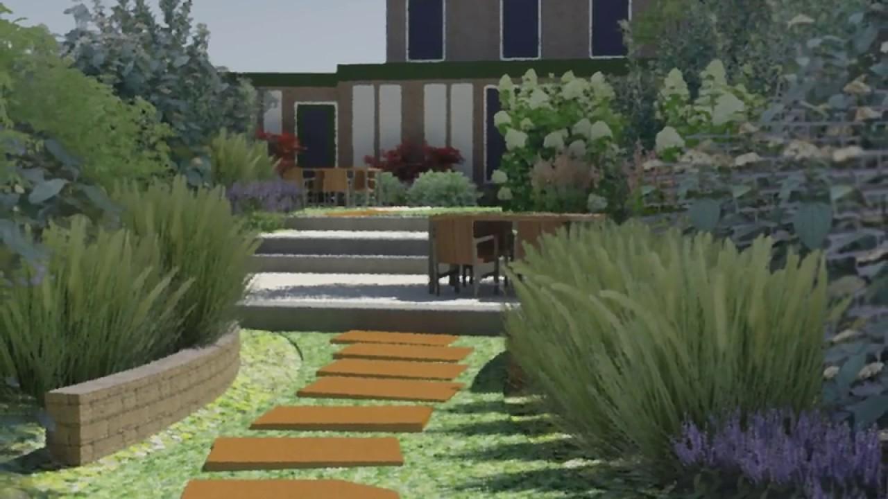Natuurlijke tuin aan het water in deventer 3d tuinontwerp for Tuinontwerp natuurlijke tuin