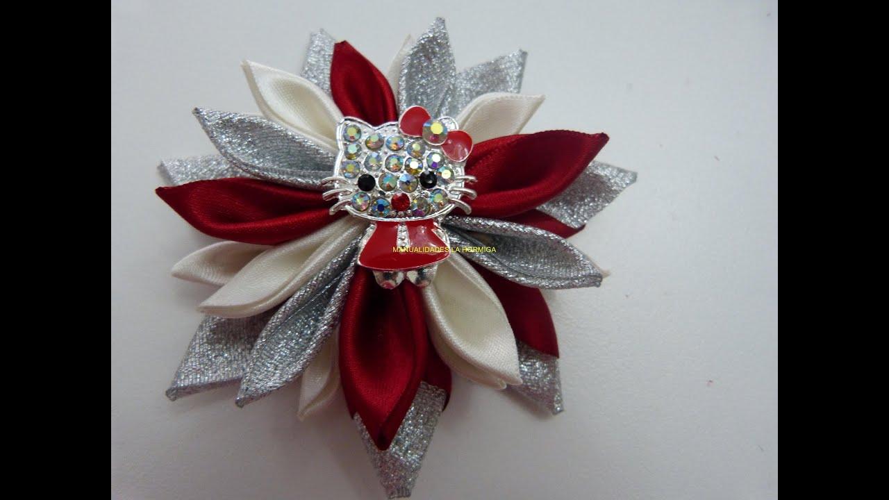 Como hacer hermosas flores con cinta cristal y raso how for Diademas de tela para el cabello
