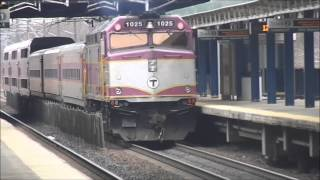 MBTA Commuter Rail, Acela Express, Northeast Regional and CSX Local at Route 128 (HD)