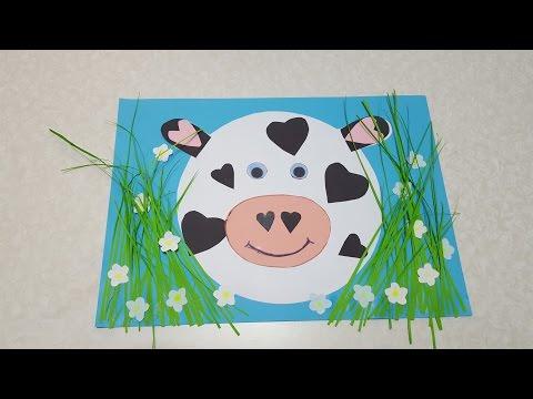 Корова Аппликация из цветной бумаги с шаблоном для скачивания