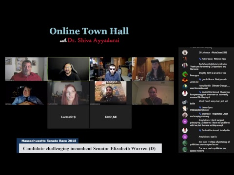Online Candidate Town Hall with Dr. Shiva Ayyadurai for Massachusetts Senate 2018