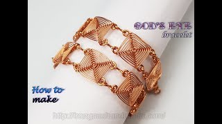 Square chain bracelet inspired God's eye craft - Handmade jewelry from copper wire 495