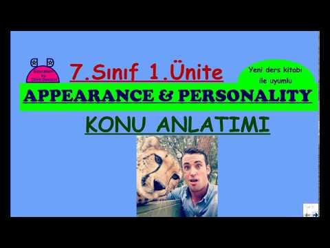 7. Sınıf İngilizce 1. Ünite (Appearance & Personality - Konu Anlatımı)(Yeni MEB kitabı uyumlu)