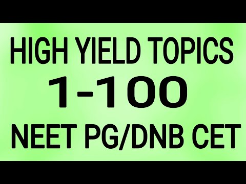 HIGH YIELD TOPICS 1-100 NEET PG/DNB CET / USMLE