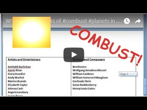 What Are The Effects Of Combust Planets In A Birth Chart Youtube