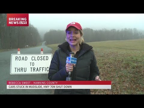 A major mudslide washed away portions of Highway 70 North in Hawkins County