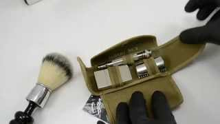 Replated 1919 Gillette Khaki Old Type Safety Razor Set & Restored 21mm Shave Brush