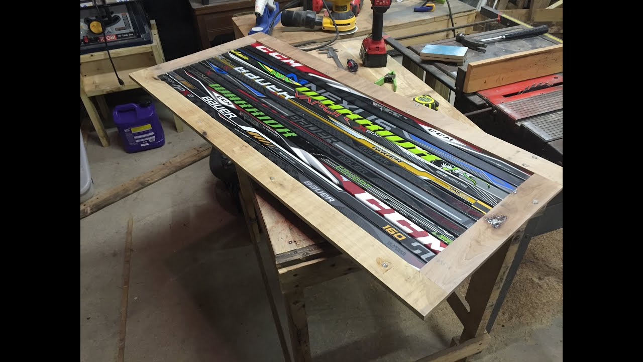 LaBelle Hockey Stick Coffee Table Part 1 - YouTube