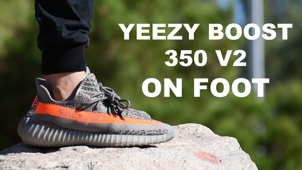 65bce043cbb9a6 ADIDAS YEEZY BOOST 350 V2 BELUGA ON FOOT - YouTube