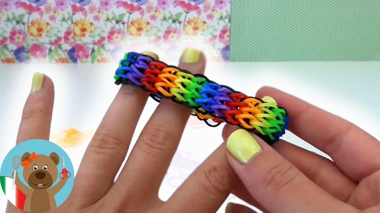 come fare i braccialetti con gli elastici con la forchetta , TRIPLO SINGOLO  Rainbow Loom en Italiano