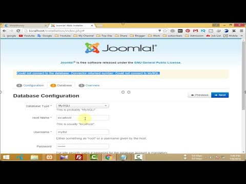 Joomla 3.6 install - Could not connect to the database | Could not connect to MySQL | Problem Solve