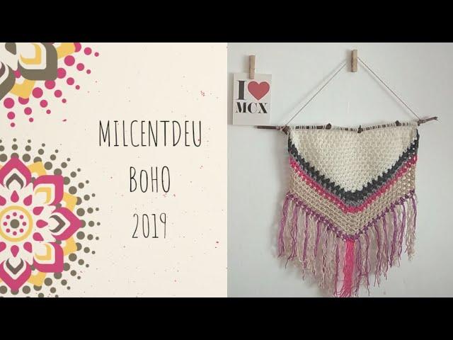 Colgante boho crochet milcentdeu 2019. Completo . Cómo hacer los flecos.