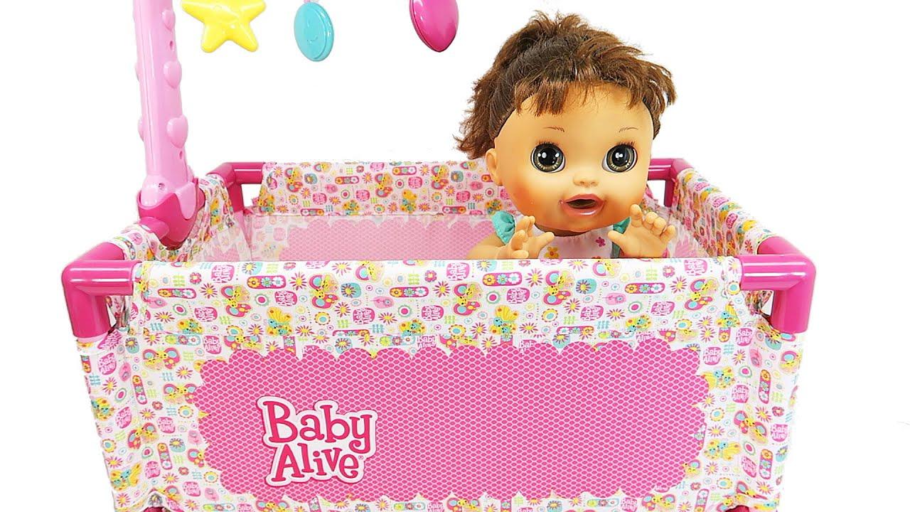 Baby Alive Doll Crib Play Yard Playset Sleeping Doll Deluxe