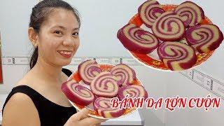 Món ngon dễ làm|Cách làm bánh da lợn cuộn màu lá cẩm lạ mắt