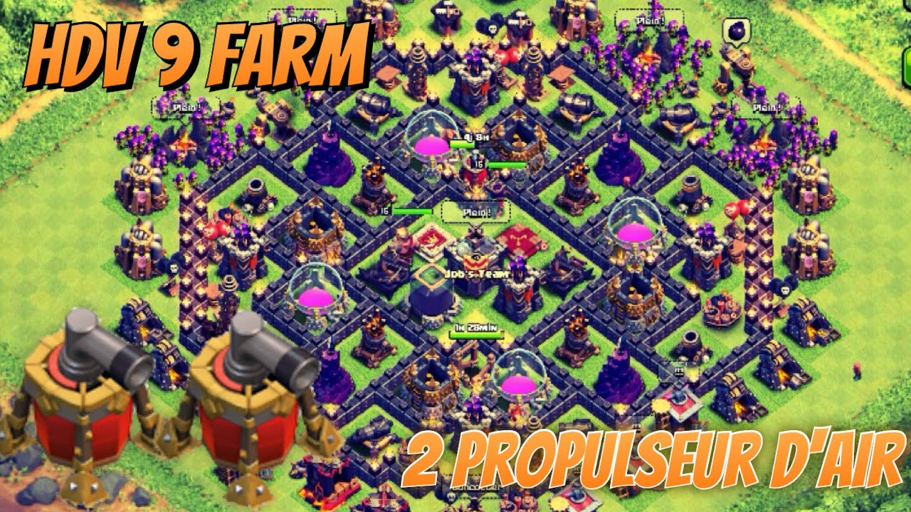 meilleur village farm hdv 9 avec deux propulseur d 39 air clash of clans youtube. Black Bedroom Furniture Sets. Home Design Ideas