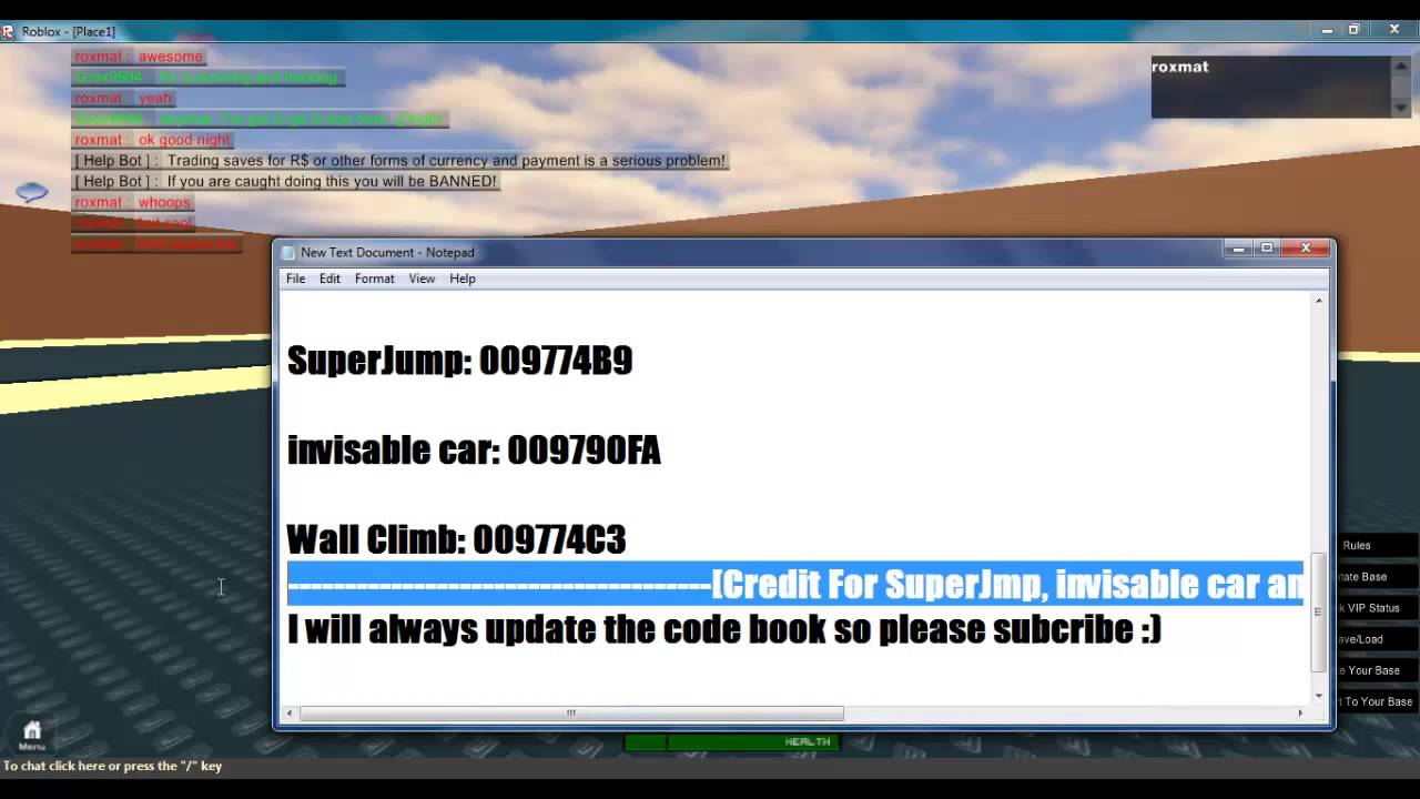 Roblox hacking codes and new code book :) - YouTube