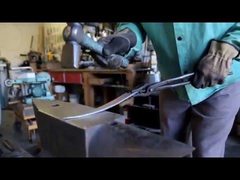 Don Carlos Andrade forging custom kitchen knives in Los Osos, CA.