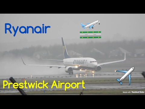 Ryanair taking off from Prestwick Airport