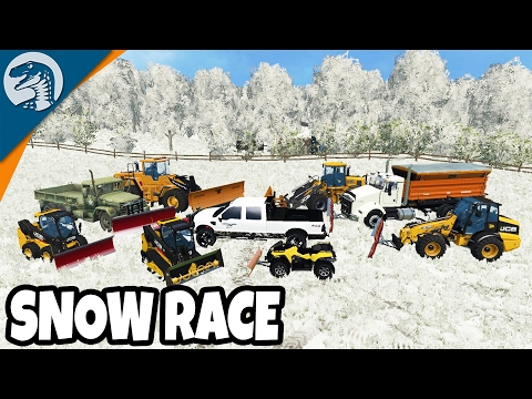 HUGE SNOW RACE TRACK CONSTRUCTION & RACE DAY | Farming Simulator 17 Multiplayer Gameplay