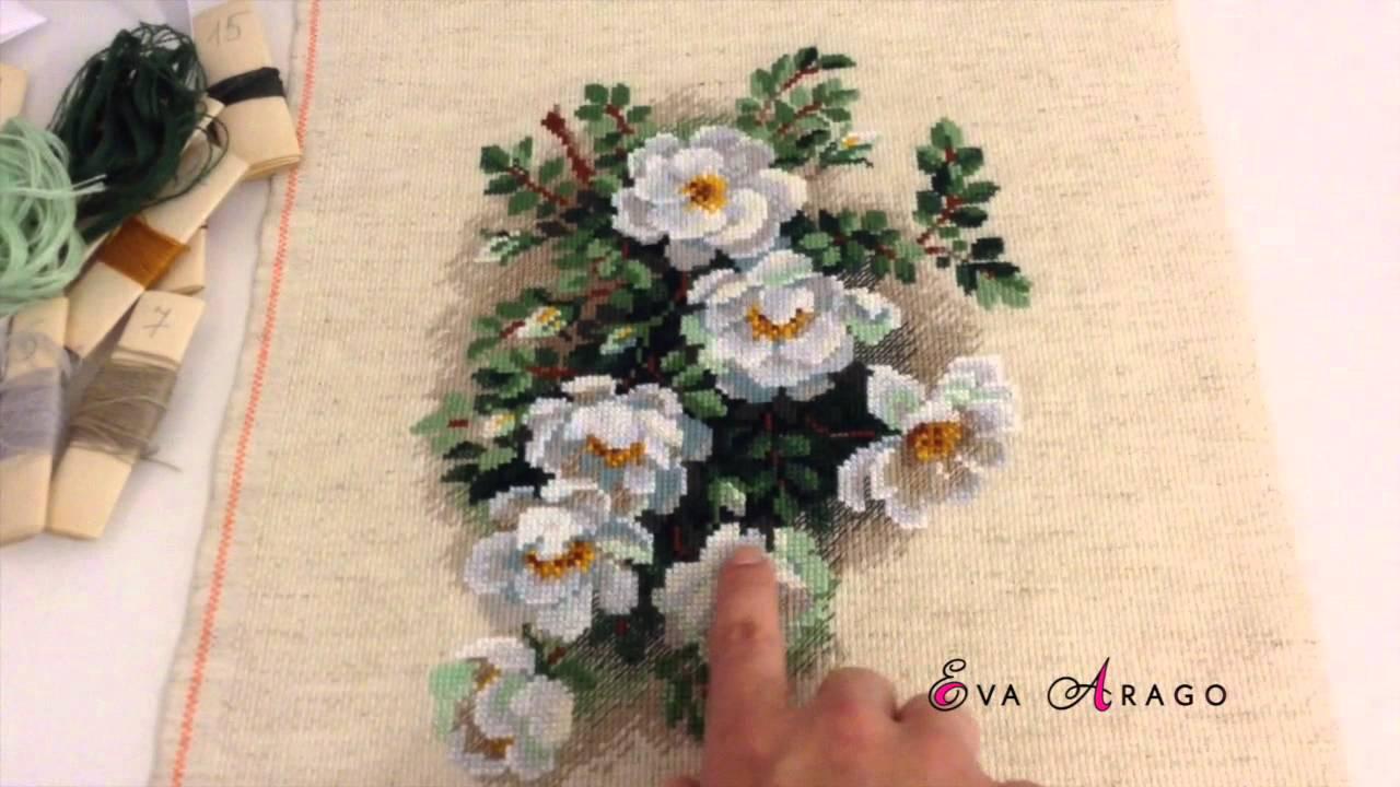 Белые розы в вазе вышивка