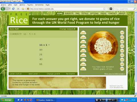 FreeRice - 100,000 grains of rice donated!