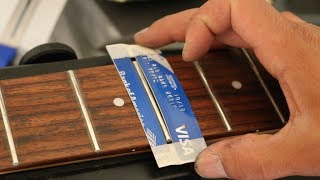 How To Clean your Guitar Frets and Fretboard using a credit card