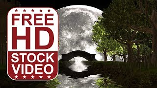 FREE HD video backgrounds – full moon scene with castle bridge forest river and water reflections