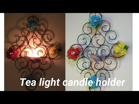 diy tea light wall mount candle holder with metal bangles/best out of waste old bangles craft idea