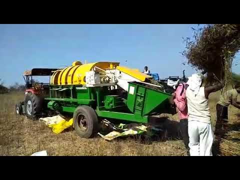 Auto feeding multi crop Basket model cutter thresher mfg by jagdamba agro industries