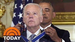 joe biden wipes away tears as president obama awards him medal of freedom   today