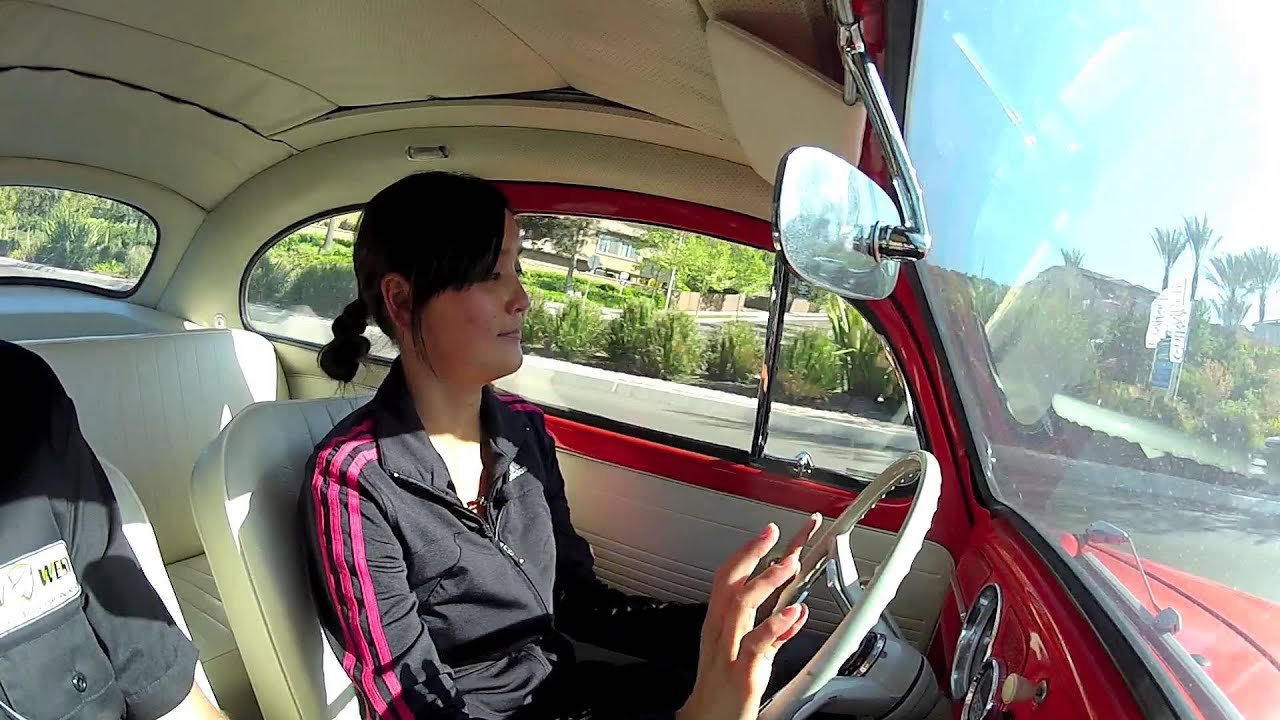 ev west electric beetle conversion - wife takes a drive with a