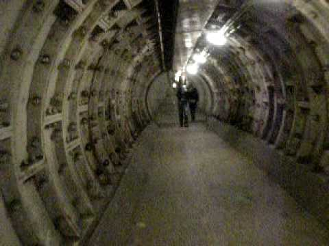 A Walk UNDER THE THAMES. The Greenwich Foot Tunnel, London.