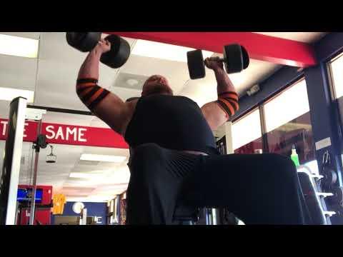 Dumbbell Shoulder Press 100lbs Dumbbells x 60 Reps!