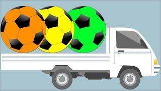 Aprender as cores com caminhão de bolas de futebol