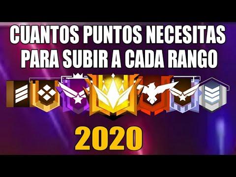CUANTOS PUNTOS NECESITAS PARA SUBIR A CADA RANGO EN FREE FIRE  2020