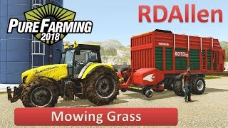 Pure Farming 2018 Free Play on Germany - Mowing Grass