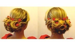 Вечерняя прическа. Прическа на выпускной. Evening hairstyle. Prom hairstyle.(В этом видео я покажу вам вечернюю прическу,прическу на выпускной с живыми цветами.Этот вариант празднично..., 2014-02-23T12:32:31.000Z)