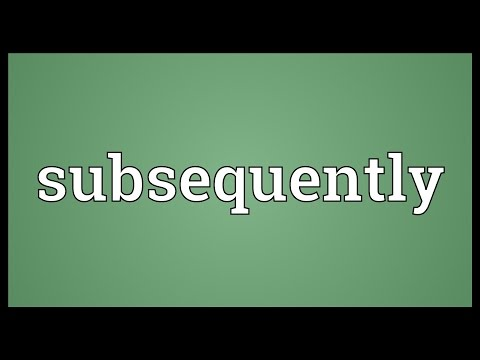 Subsequently Meaning