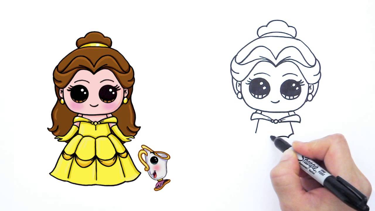 How To Draw Disney Princess Belle From Beauty And The Beast Cute Youtube