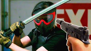 AIRSOFT Sword Block Challenge In Slow Motion!