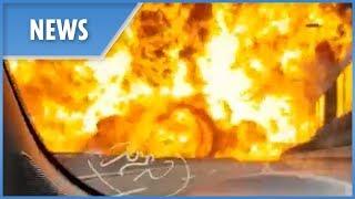 Moment huge tanker explosion rocks Bologna, Italy