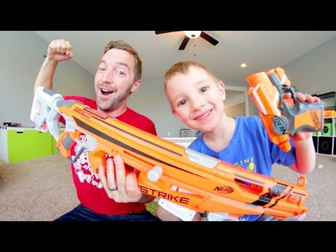 Father & Son / HUGE NERF GUN -VS- TINY NERF GUN!