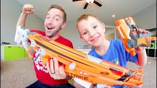 Father & Son / HUGE NERF GUN -VS- TINY NERF GUN!