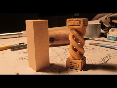 Hollow Spiral Whittler's Puzzle - Fun woodcarving project!!!
